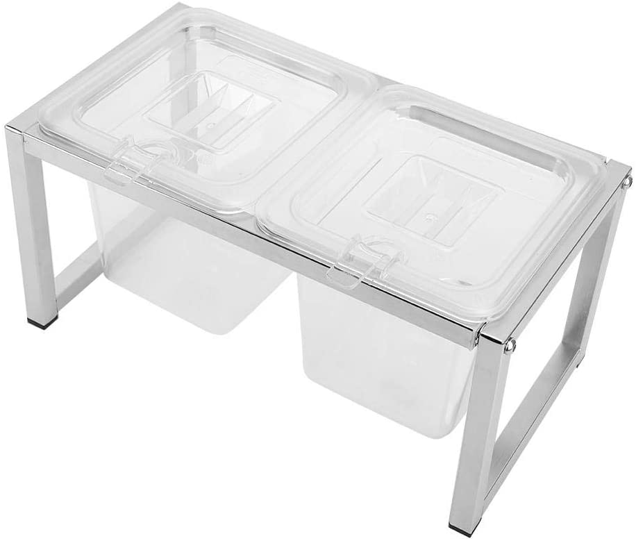 Clear Seasoning Box, Transparent 2-Grids Seasoning Box Stretchable Condiment Box Rack Pepper Salt Condiment Can Storage Container Home Kitchen