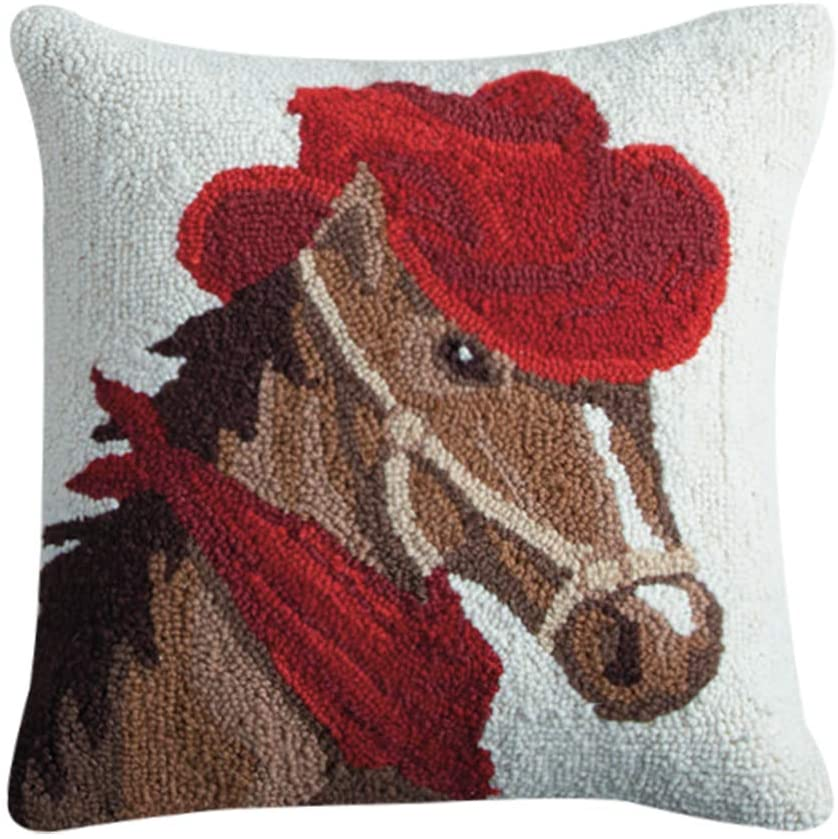Hooked Horse in a Hat Pillow
