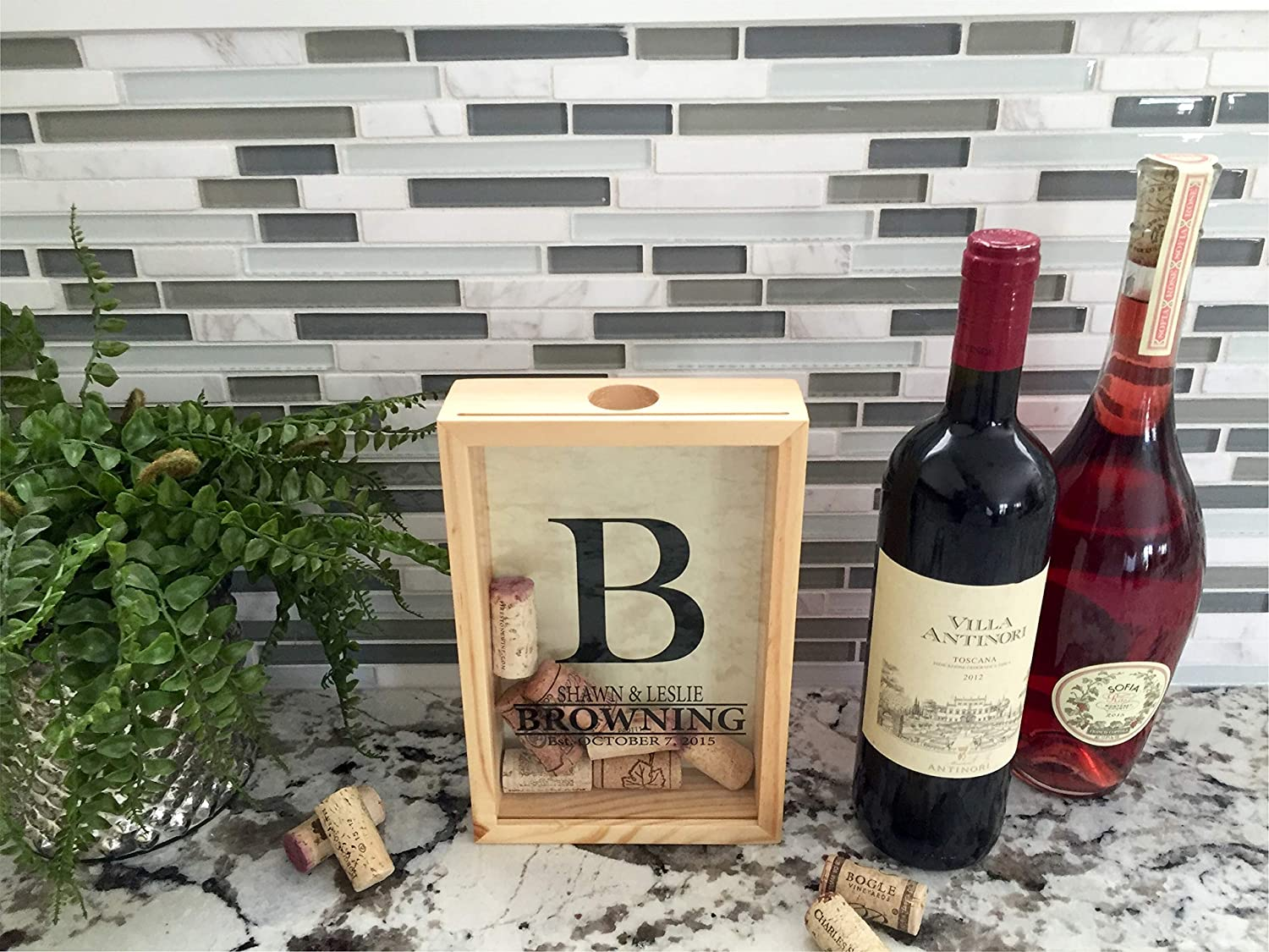 Qualtry Personalized Cork Shadow Box - Wine Cork Holder Display Great Wedding Gift (9