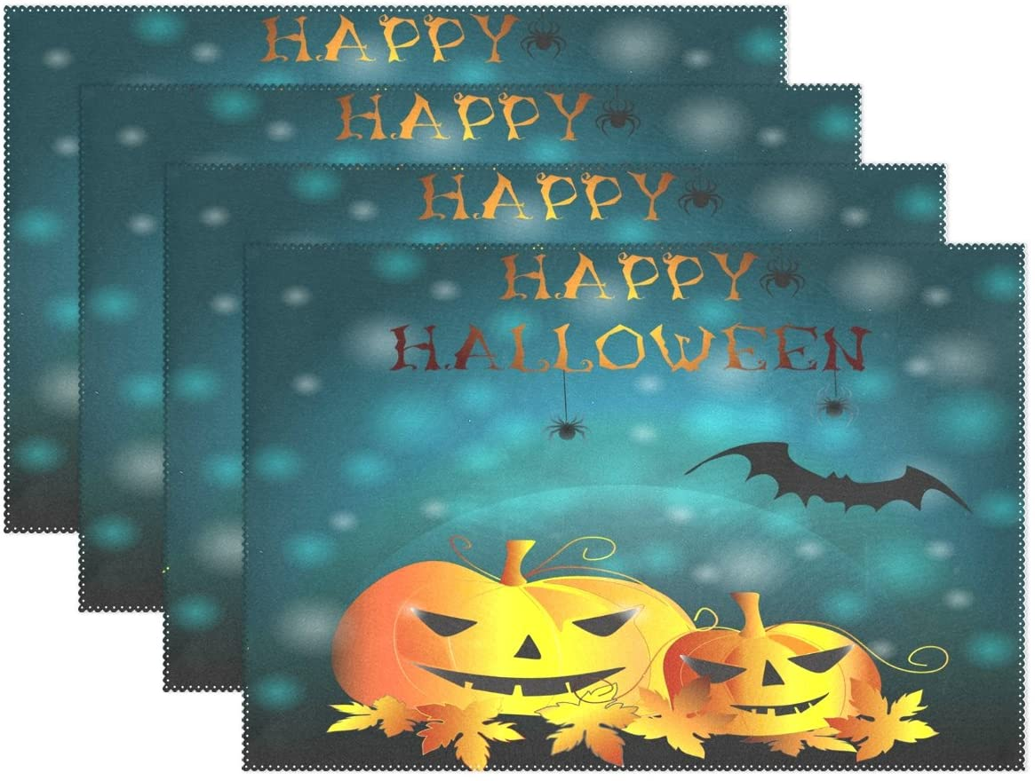 WOZO Happy Halloween Pumpkin Spider Maple Leaves Placemat Table Mat 12