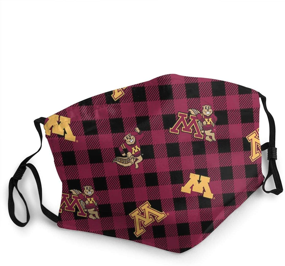 Kikc Unisex Face Mask Minnesota Golden Gophers Mouth Masks Washable and Reusable Shield with Elastic Ear Loop Cover Full Face Anti-Dust