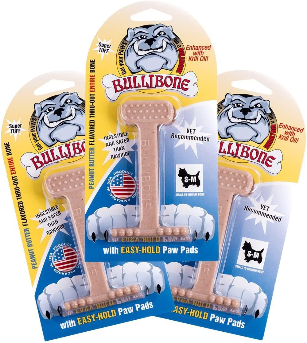 Bullibone Nylon Dog Chew Toy Nylon Bone - Improves Dental Hygiene, Easy to Grip Bottom, and Permeated with Flavor