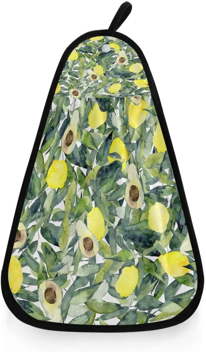 Kaariok Watercolor Avocado Lemon Palm Vinatge Fruit Hanging Hand Towel Kitchen Absorbent Dish Loop Cleaning Towel for Bathroom Decor