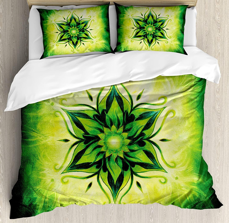 Ambesonne Lotus Duvet Cover Set King Size, Psychedelic Floral Mandala Meditation Mystic Digital Image, Decorative 3 Piece Bedding Set with 2 Pillow Shams, Lime Green