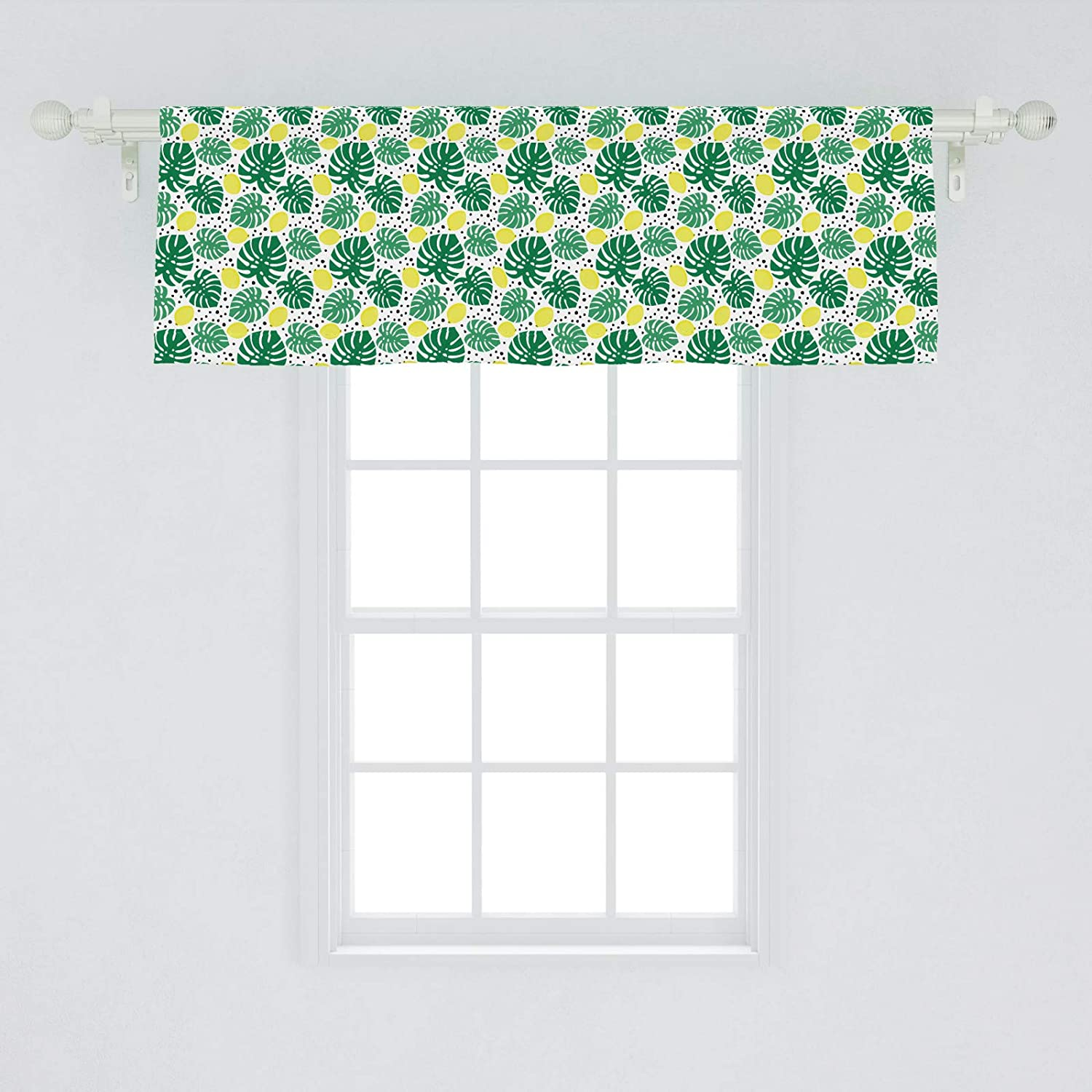 Lunarable Tropical Window Valance, Tropical Monstera Leaves Pattern with Juicy Fresh Lemons and Dots, Curtain Valance for Kitchen Bedroom Decor with Rod Pocket, 54