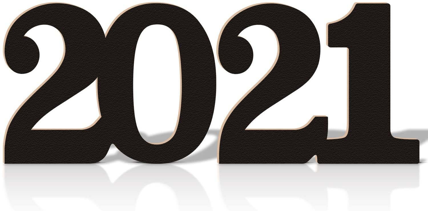 Huray Rayho 2021 Wooden Number Sign 2021 New Year Party Decorations Photo Prop Table Decoration Milestone Events Backdrop Sign Black Date Cutout Graduation Photo Props