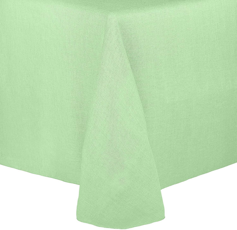 Ultimate Textile -5 Pack- Faux Burlap - Havana 108 x 156-Inch Rectangular Tablecloth - Basket Weave, Mint Green