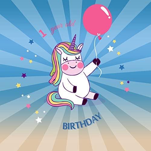 OFILA Baby 1st Birthday Backdrop 6x6ft Unicorn Theme Birthday Photography Background Baby Girls Birthday Party Decoration Balloons Stars Unicorn Cake Smash Video Family Shoots Studio Props