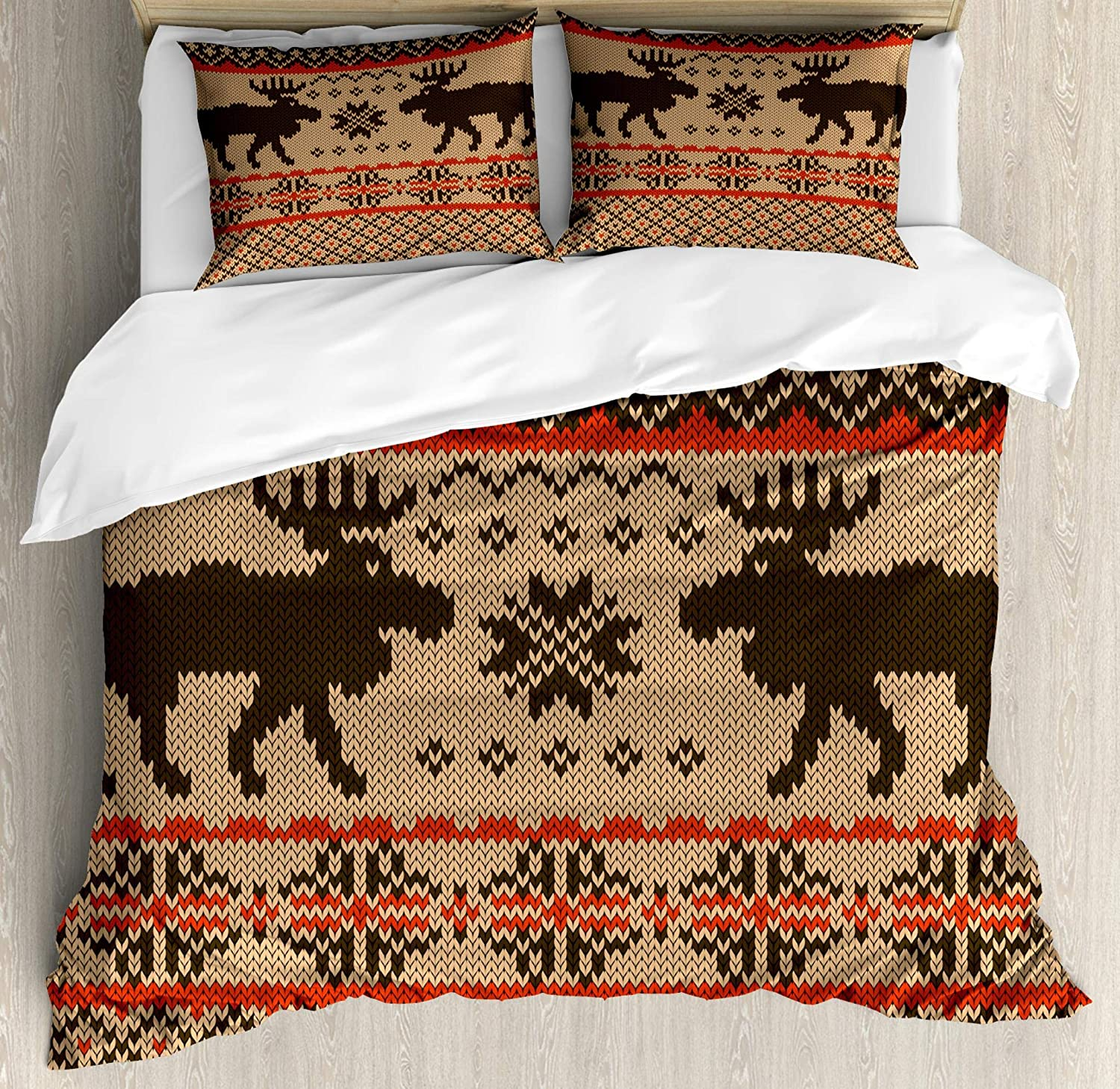 Ambesonne Cabin Duvet Cover Set, Knitted Swatch with Deers and Snowflakes Classical Country Plaid Digital, Decorative 3 Piece Bedding Set with 2 Pillow Shams, King Size, Vermilion Brown