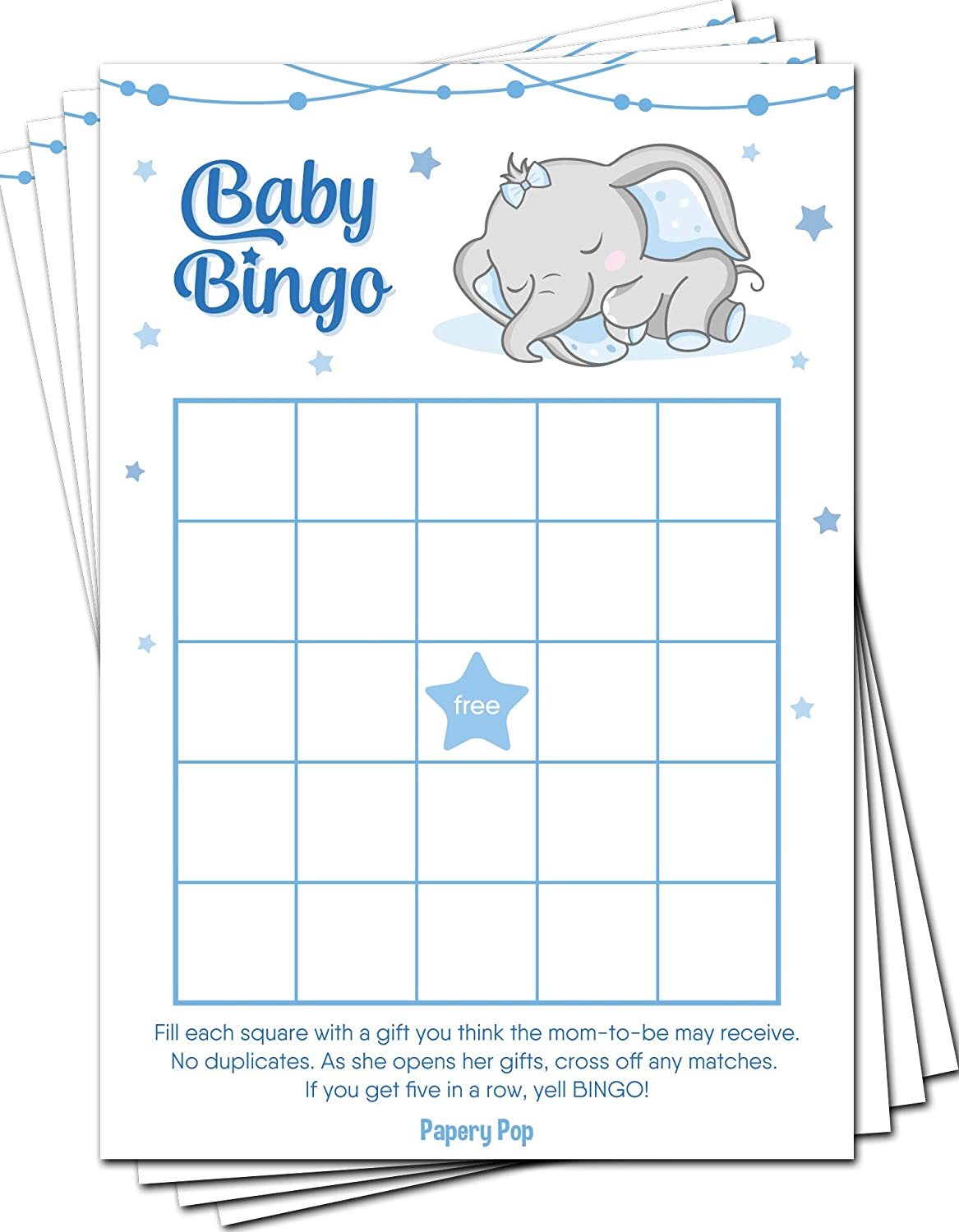 Baby Shower Bingo Game Cards (Pack of 50) - Baby Shower Games for Boys - Party Activities Ideas Supplies - Elephant