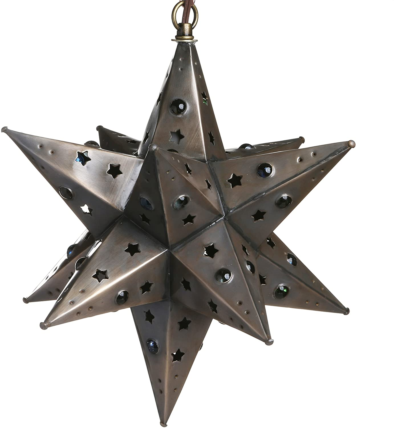 12 Inch Moravian Hanging Tin Star Light - Star Cut with Marbles