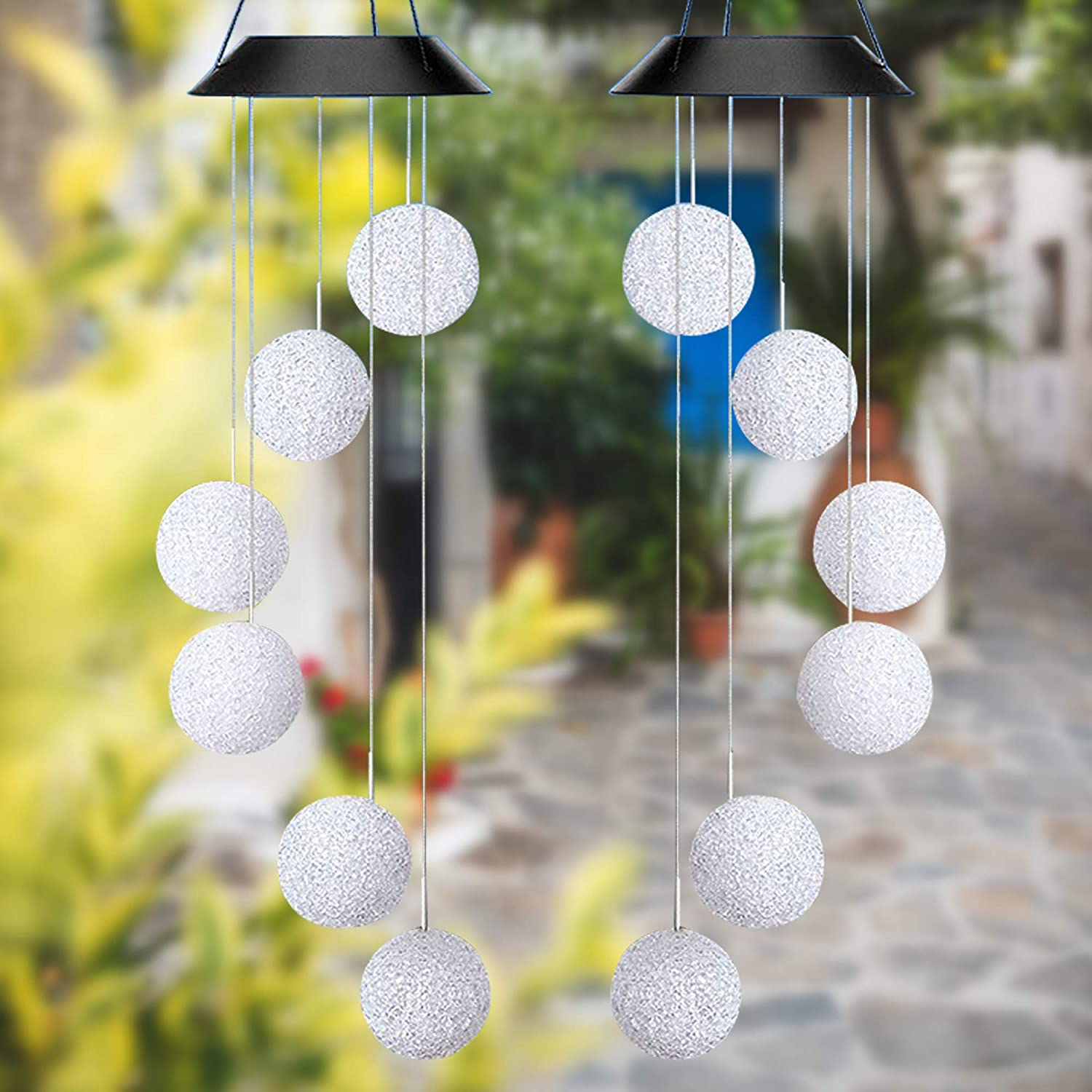 2 Pack LED Solar Powered Crystal Ball Wind Chime, Waterproof Wind Chimes with Colorful Light for Yard, Garden, Home, Veranda Decoration, Ideal Gift for Christmas, Birthday, Thanksgiving, Halloween