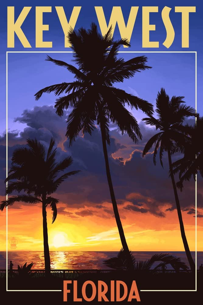 Key West, Florida - Palms and Sunset (9x12 Art Print, Wall Decor Travel Poster)