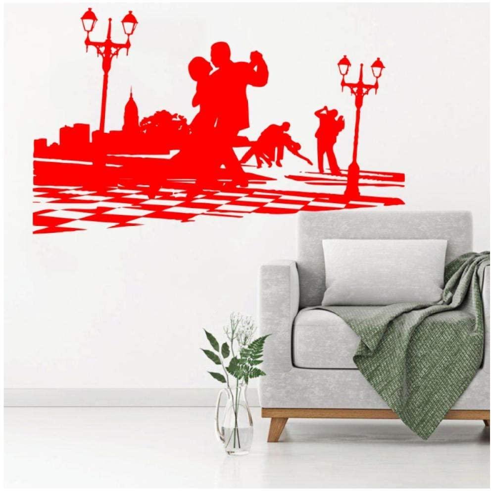 dsajgker Art Ballerina Dancers Silhouette Wall Sticker Dacing Tango Salsa Break Boy and Girl Vinyl Wall Poster Home Decor 57X92Cm
