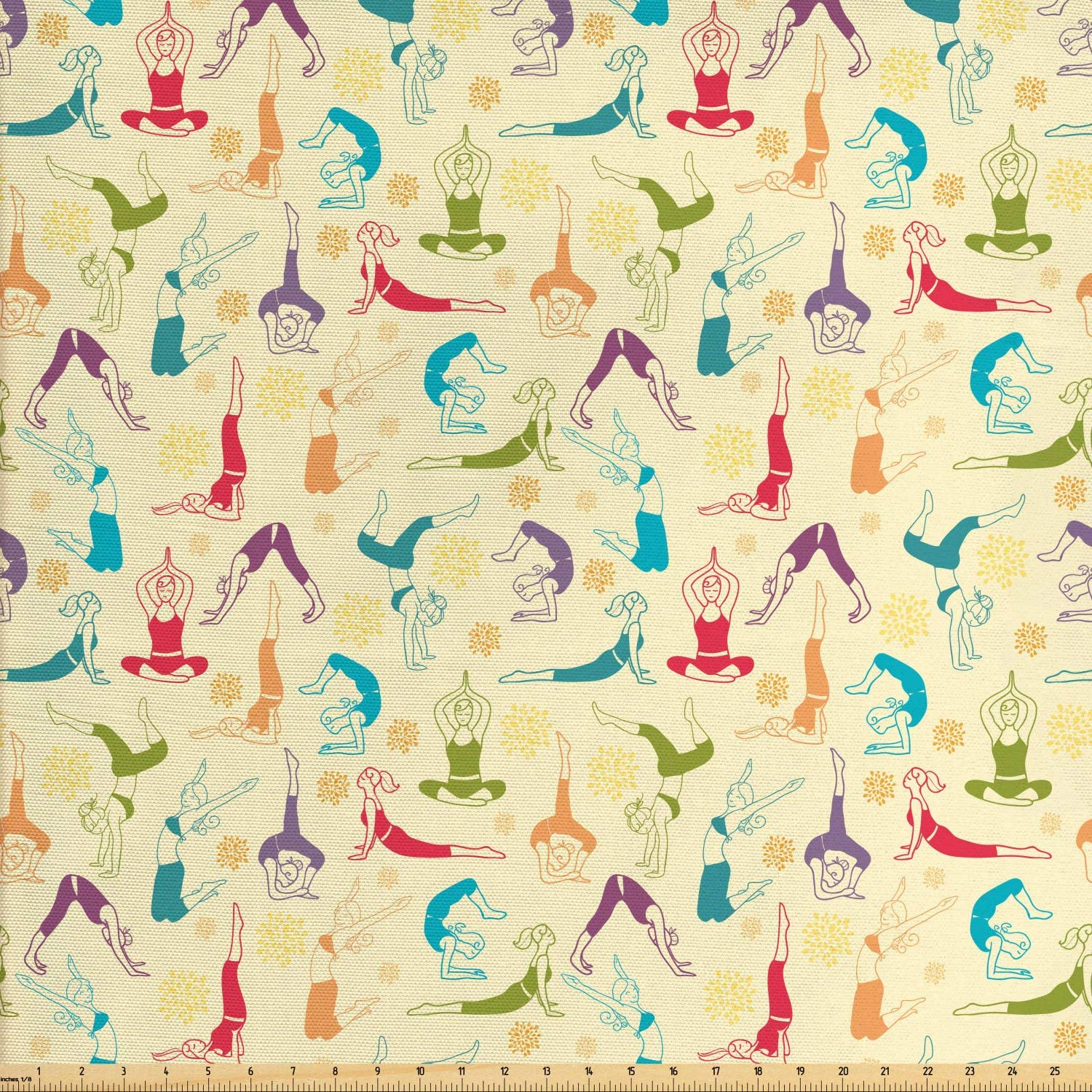 Ambesonne Yoga Fabric by The Yard, Workout Themed Fitness Girls Pattern Abstract Meditation Postures Arrangement Asian, Decorative Fabric for Upholstery and Home Accents, 1 Yard, Multicolor