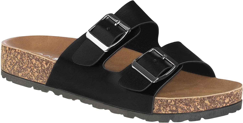 CLOVERLAY Comfort Low Easy Slip On Sandal – Casual Cork Footbed Platform Sandal Flat – Trendy Open Toe Slide Sandal Shoes (7, Black)