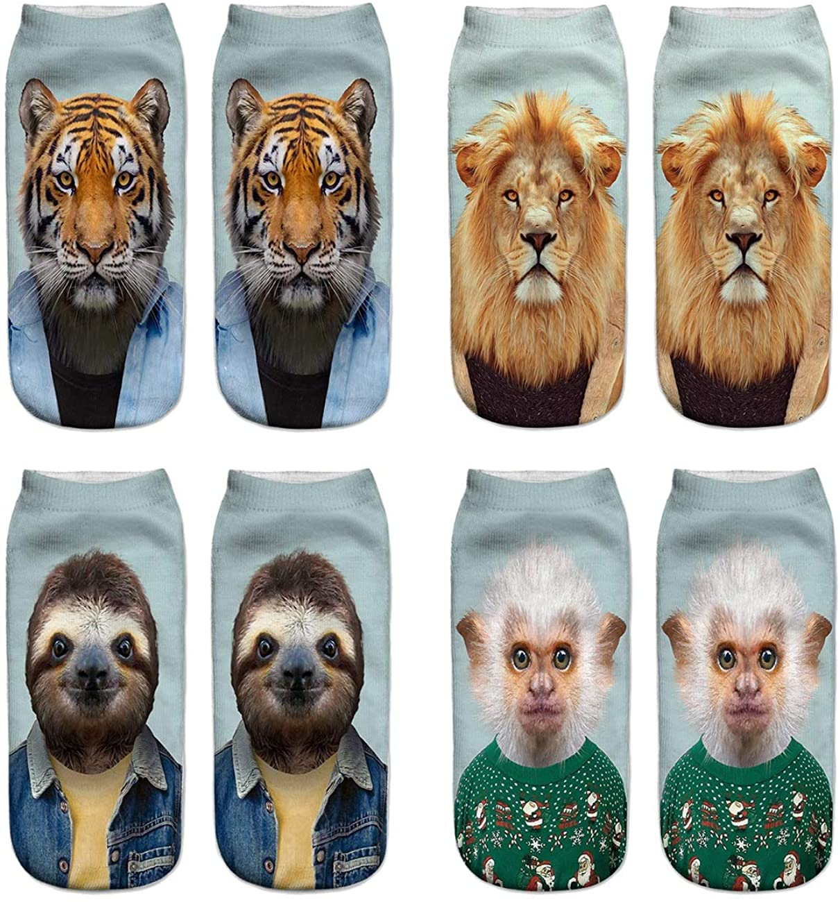 Womens Girls Funny Crazy Ankle Socks Fun Cute 3D Print Graphics Novelty Low Cut Liner Value Packs