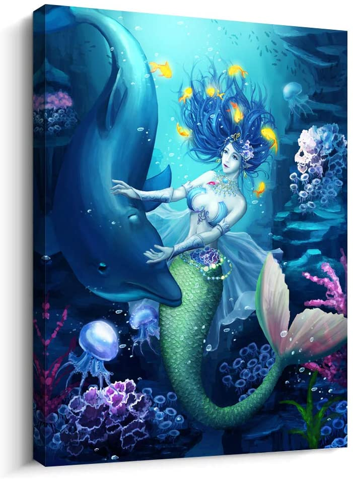 Canvas Wall Art for Bathroom Wall Decor for Living Room Modern Family Bedroom Canvas Art Kitchen Mermaid Pictures Artwork Wall Paintings Ready to Hang Home Decorations 12