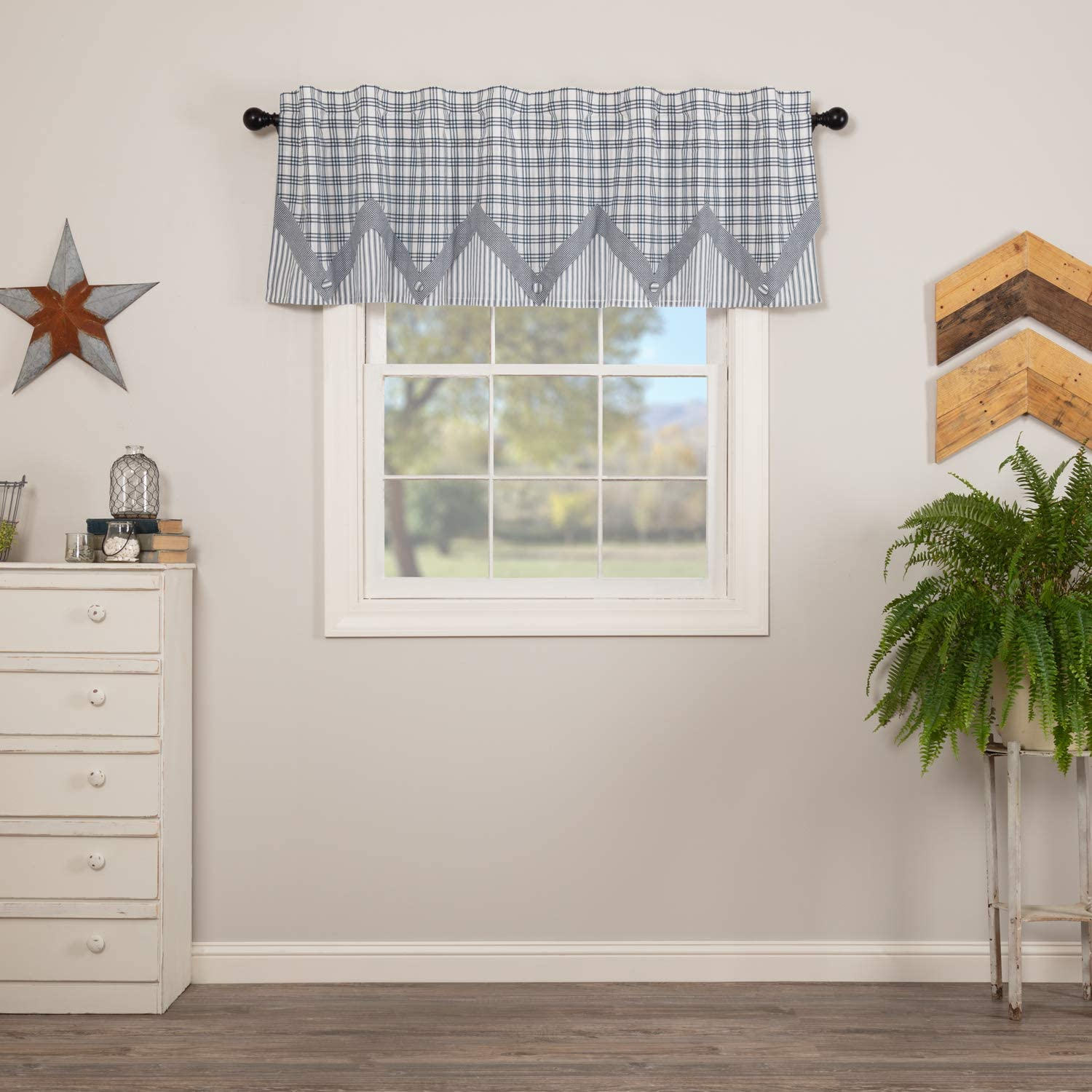 VHC Brands Farmhouse Kitchen Sawyer Mill Rod Pocket Cotton Hanging Loops Pointed Buttons Chambray Plaid 20x72 Curtain, Valance, Blue