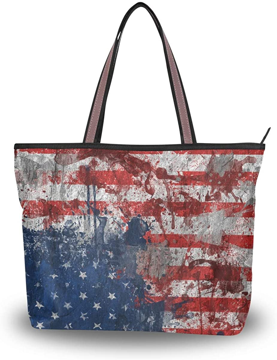 Woman Tote Bag Shoulder Handbag American Flag Graffiti for Work Travel Business Beach Shopping School