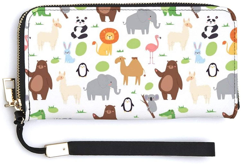 Wallet for Women PU Leather Coin Purse Zip Around Holder Clutch Wallet Wrist Strap Credit Card Purse Travel Handbag