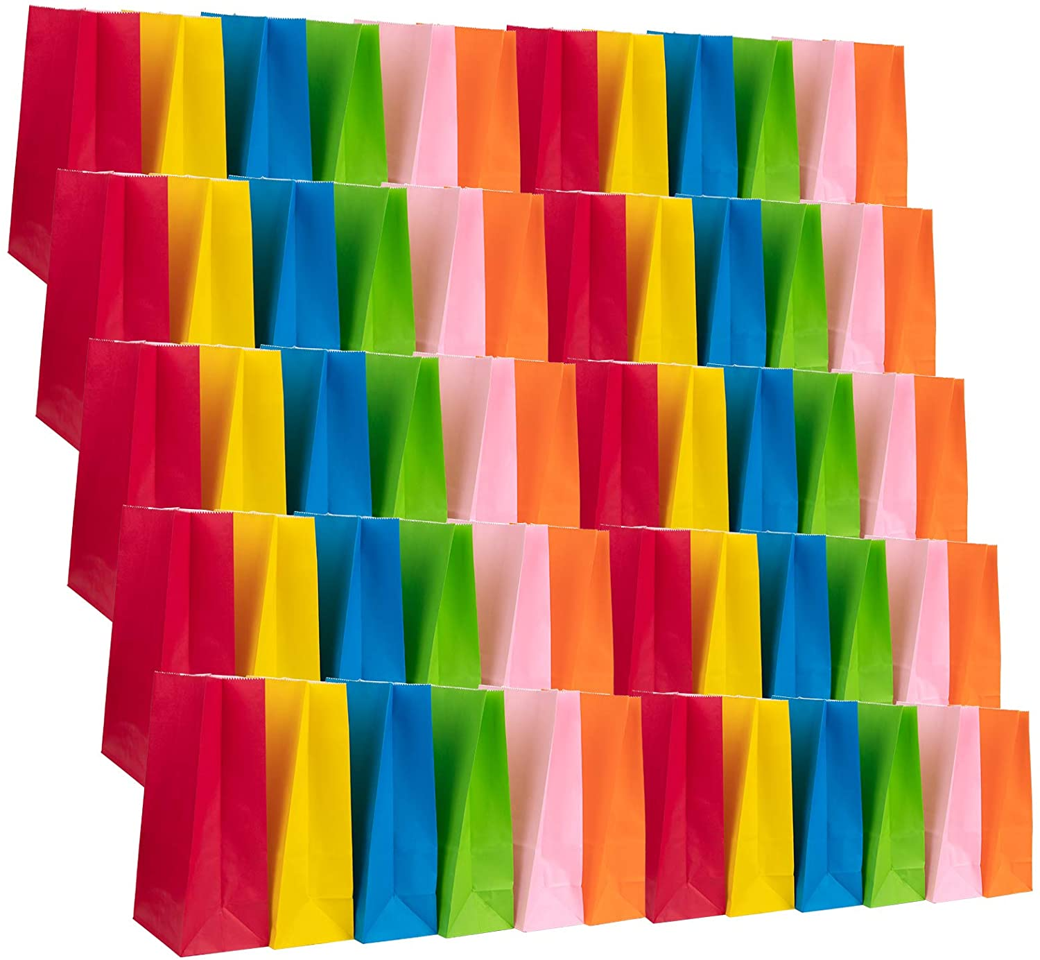 Jucoan 60 Pack Paper Party Favor Bags, Assorted Color Goodies Bags for Cookies, Candy Buffet