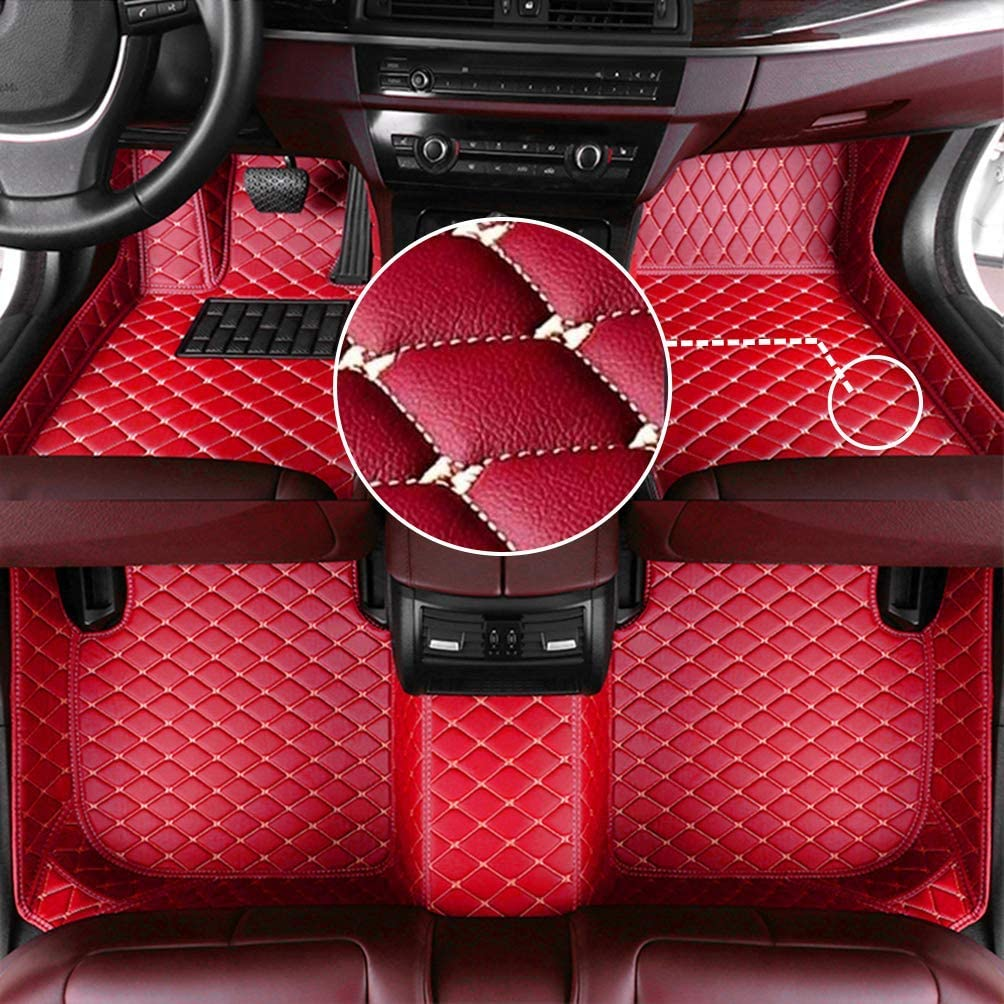 MyGone Car Floor Mats for Tesla Model-S 2014-2019 2015 2016 2017 2018, Leather Floor Liners - Custom Fit Waterproof Comfort Soft, Front Rear Row Full Set Red