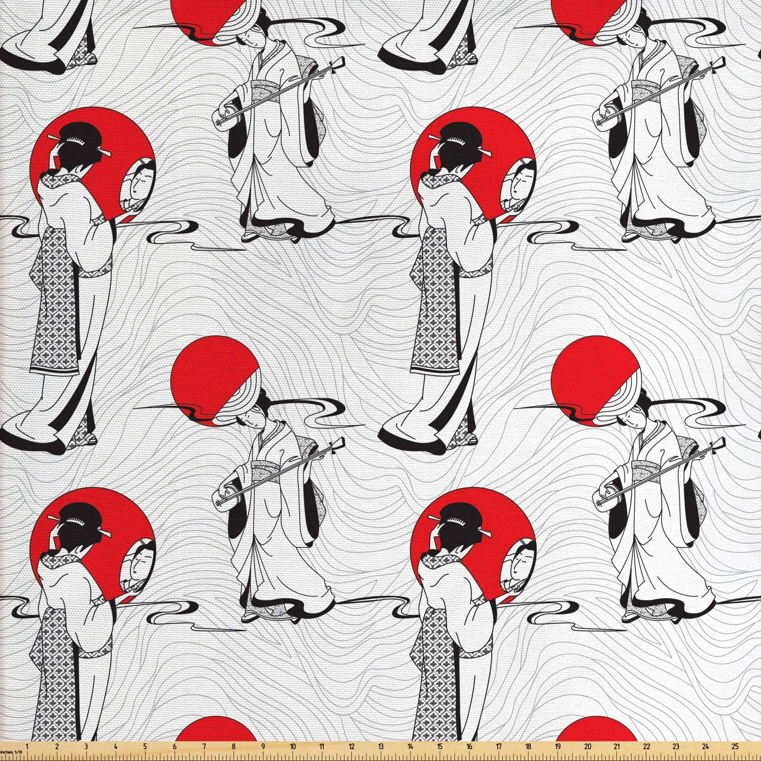Ambesonne Asian Fabric by The Yard, Japanese Geisha Girl with Traditional Kimono Folk Culture Style, Decorative Fabric for Upholstery and Home Accents, 1 Yard, Black Red