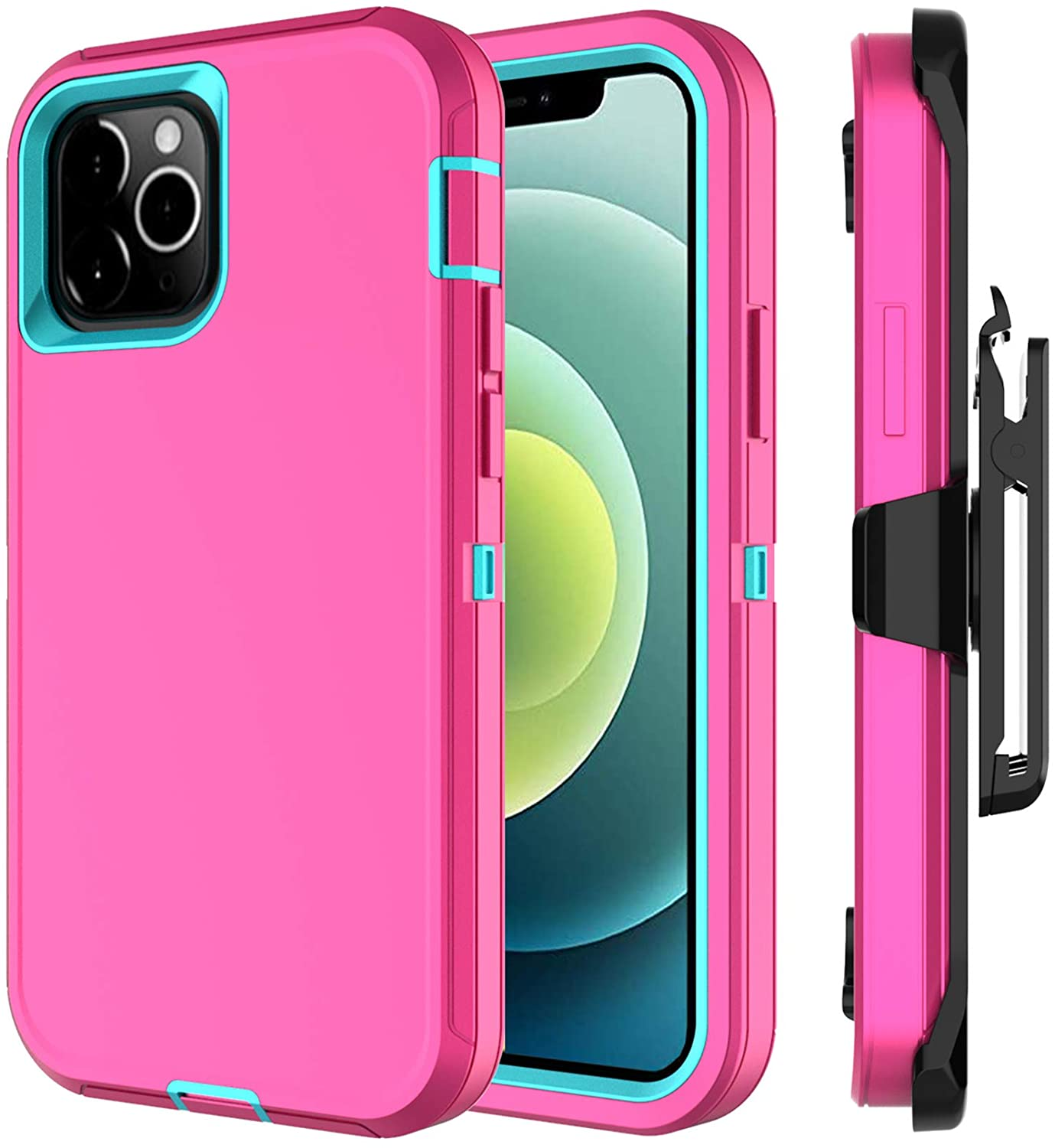 Annymall Compatible with iPhone 12 Case, Compatible with iPhone 12 Pro Case Built in Screen Protector Heavy Duty Shockproof Rugged Kickstand Holster for iPhone 12/12 Pro Cover (Pink/Blue)