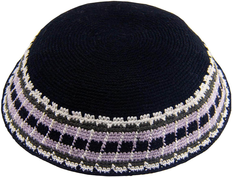 HolYudaica Hand Made Mix Colors 100% Cotton Large Size -22cm- DMC Hand Knitted Kippah Hat from Israel, Hats for Men, Yarmulke Hat, Kippah for Men (Black Purple)