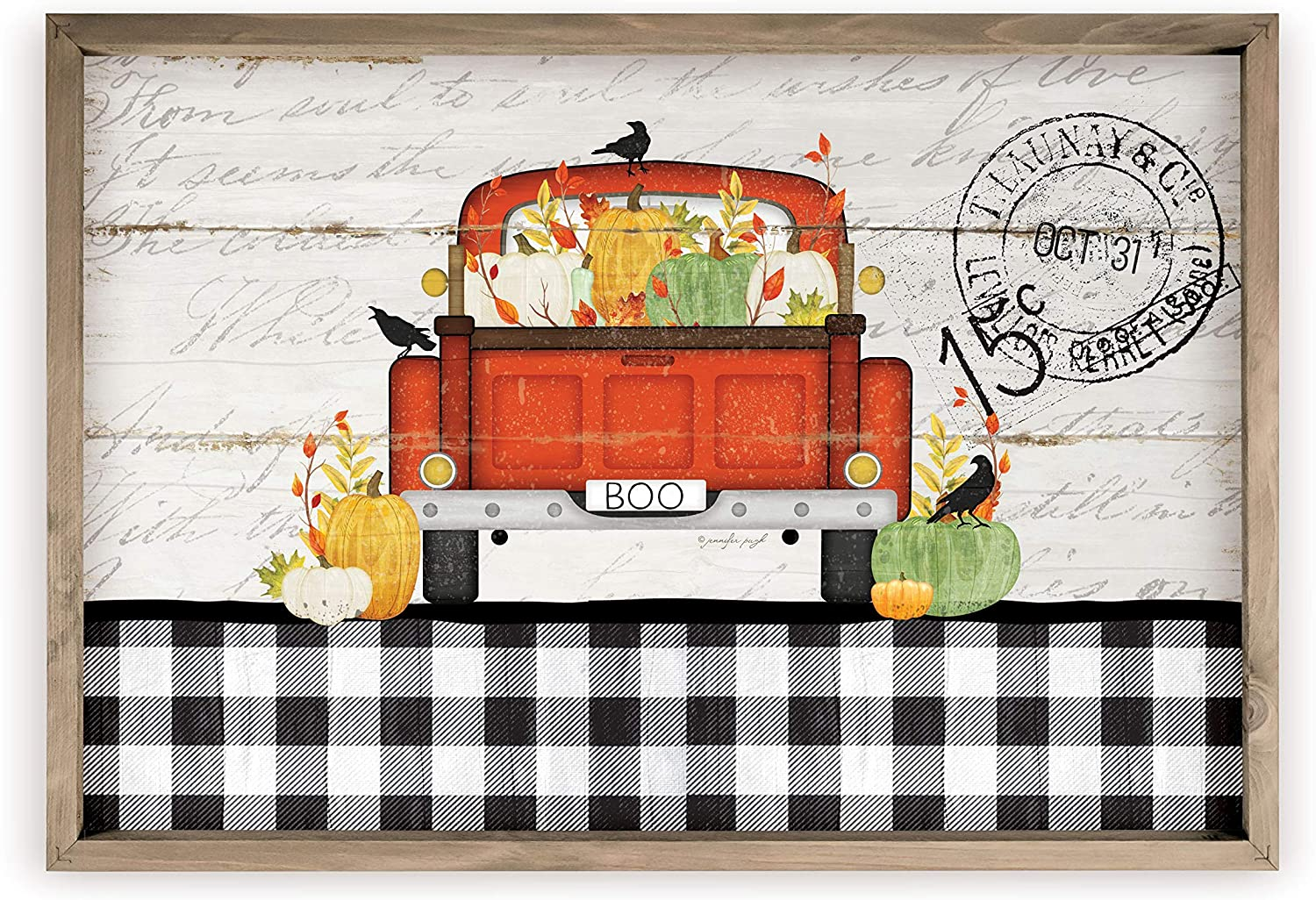 Boo Antique Truck and Pumpkins Rustic Wood Sign 12x18 (Frame Included)