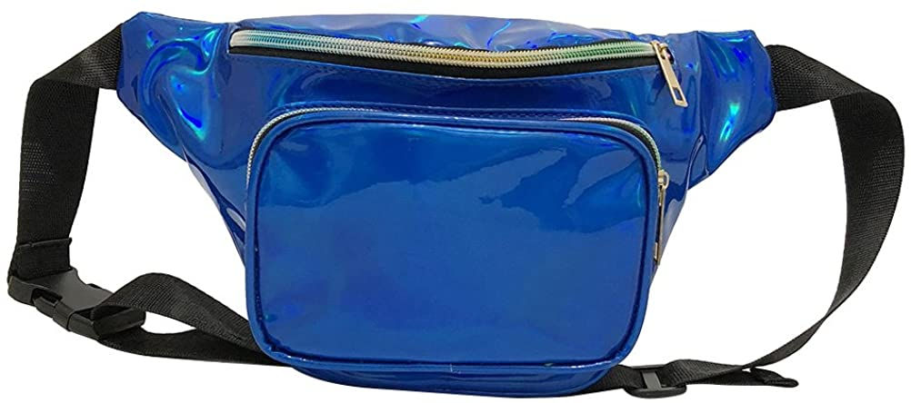 All-match Holographic Shinning Fanny Pack Waist Packs for Women Girls (Gold)