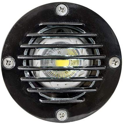 DABMAR LIGHTING FG317-LED5-B Fiberglass Well Light W/Grill 5W LED MR16 12V, Black