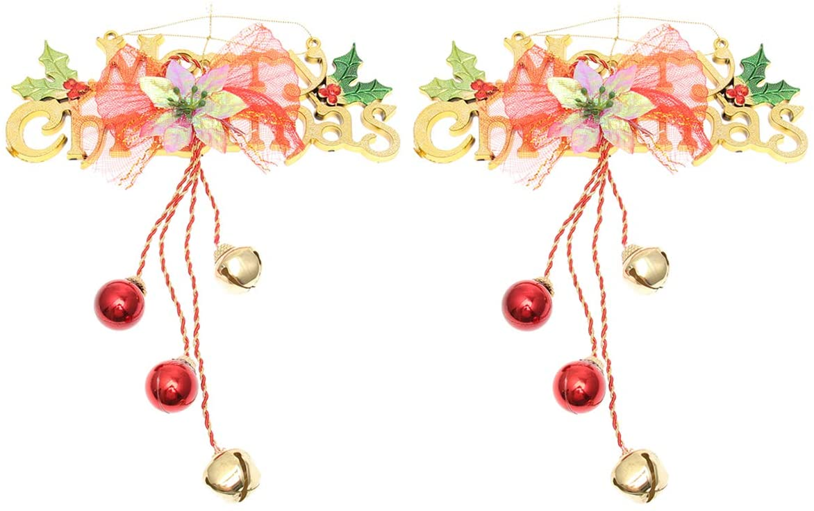 VOSAREA 2pcs Christmas Door Hanging Ornaments Ring Bell Adornments Wall Hanging Ornaments Christmas Elements Design for Decor (Letters Style Golden Wind Bell)