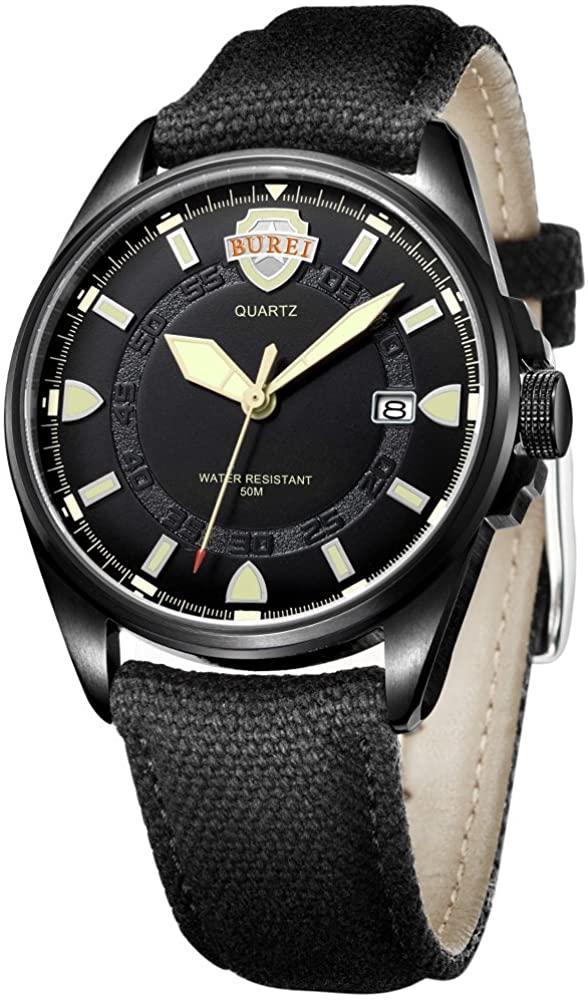 BUREI Men Watches Watch Classic Quartz Wrist Watch Fashion Analog Dial Round with Leather Strap
