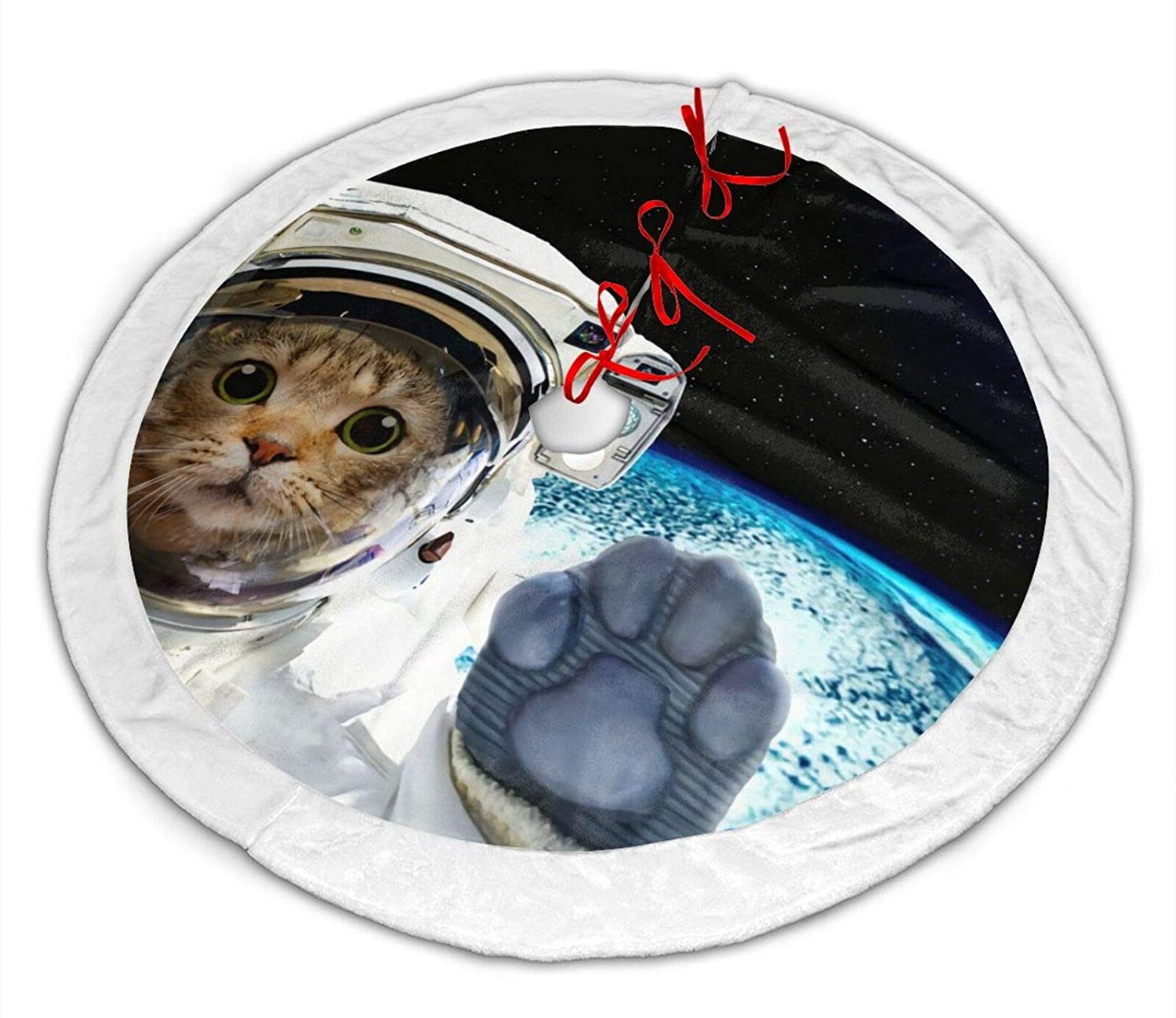 antcreptson Cat Galaxy Planet Universe Space Star Christmas Tree Skirt, 36 inch Christmas Tree Decorations for Farmhouse Party