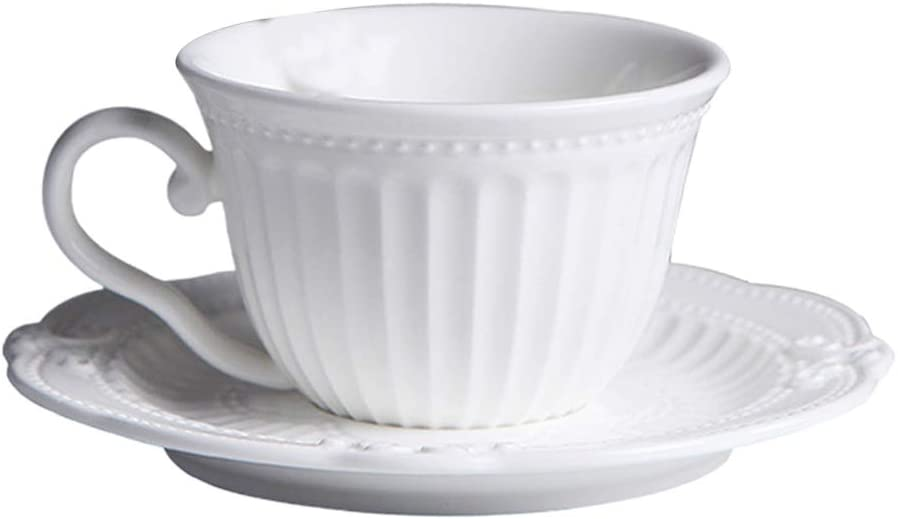 Hemoton Teacup Saucer Set European Style Afternoon Tea Cup Set Ceramic Coffee Cup and Saucer for Room Hotel Home Without Spoon White