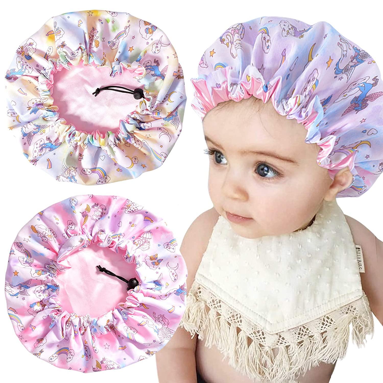 3 Pieces Kids Unicorn Bonnet Adjustable Satin Bonnet Sleeping Cap Soft Silk Pink Night Hats for Natural Hair Teens Toddler Child Baby Reversible Double