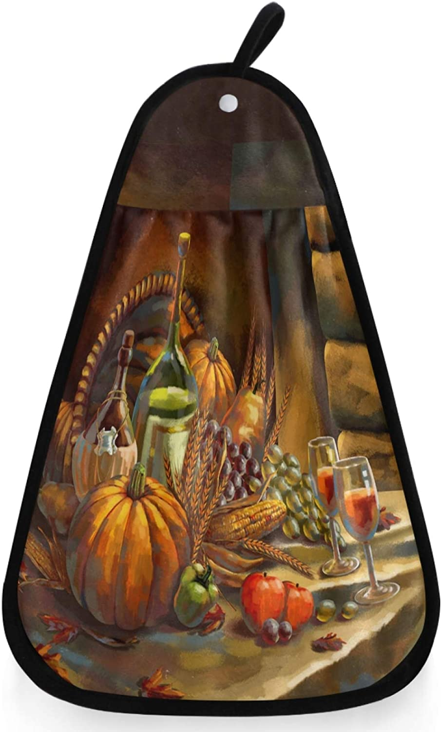 visesunny Thanksgiving Fall Harvest Pumpkin Grape Wine Kitchen Dish Towel with Hanging Loop Absorbent Hand Towel for Bathroom Cleaning and Drying Washcloth
