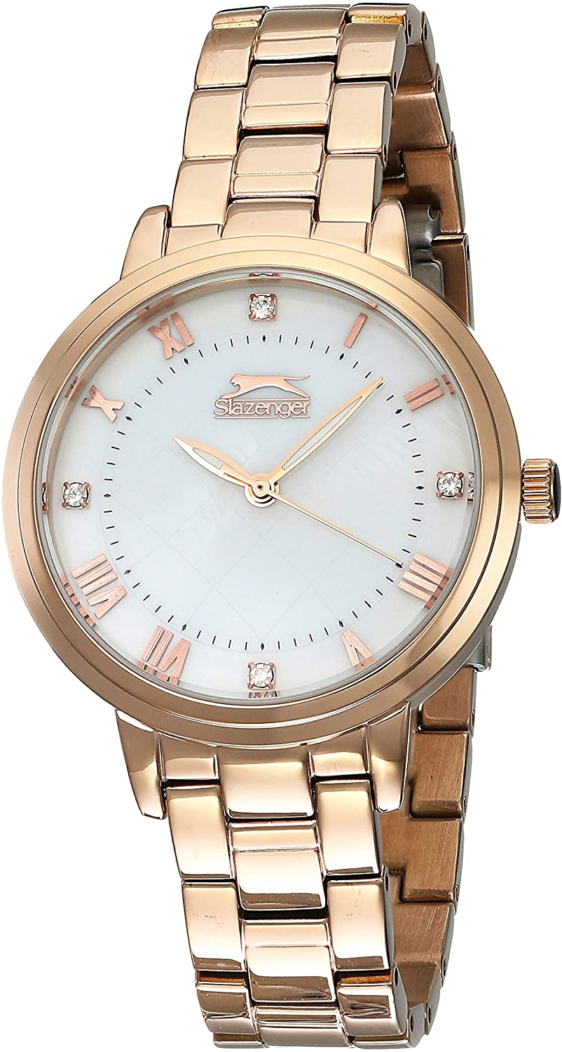 Slazenger Gold Stainless Steel Strap Japanese Quartz Movement and Dual-Time-Display Dial Analog Watch for Women