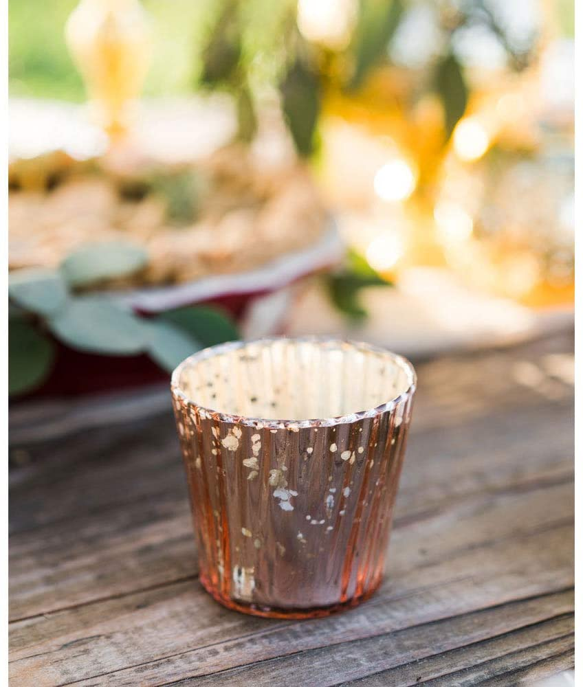 Luna Bazaar Vintage Mercury Glass Candle Holder (3-Inch, Caroline Vertical Design, Rose Gold, 4 pcs) - for Use with Tea Lights - for Home Décor, Parties and Wedding Decorations - Glass Votive Holders
