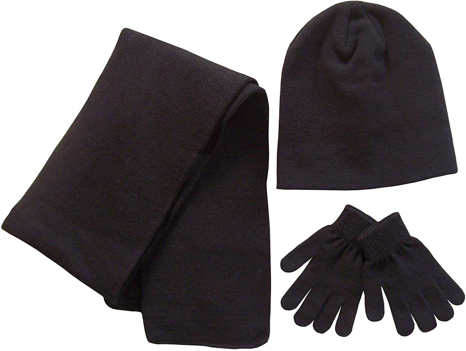 N'Ice Caps Adults Unisex Reversible Knit Hat/Scarf/Touchscreen Glove Set