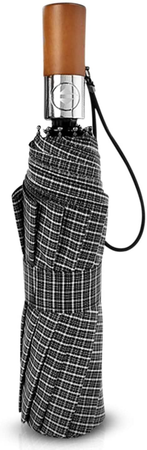 DORRISO Men Automatic Open Close Folding Umbrella wood-handle Compact Portable Men Business Golf Umbrella Windproof Travel Umbrella Gray B