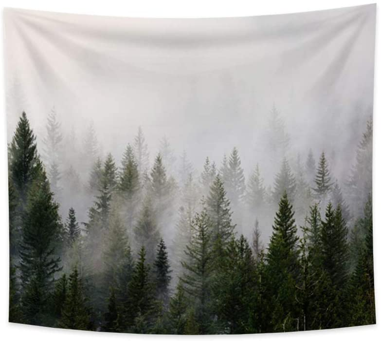 Yongto 70.9x63 Inches Trees Tapestry, Misty Forest Nature with Fir Forest in Hipster Vintage Scene, Art Wall Hanging Mural for Bedroom Living Room Dorm Widely Use Home Decoration