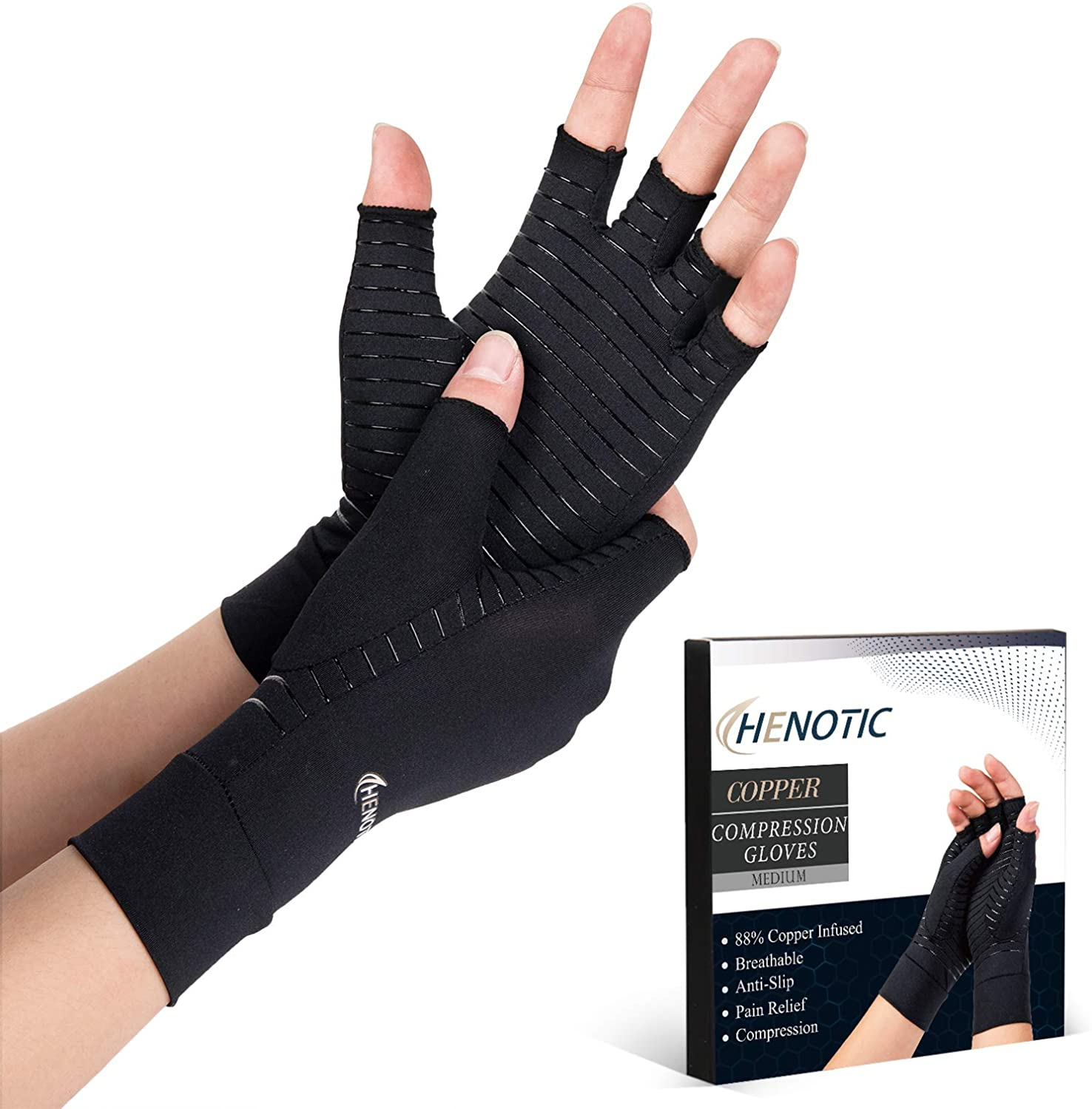 Copper Compression Gloves for Women Men, Fingerless Breathable & Moisture Wicking Arthritis Compression Gloves for Relieving Carpal Tunnel Aches, Rheumatoid Pains, Joint Swell