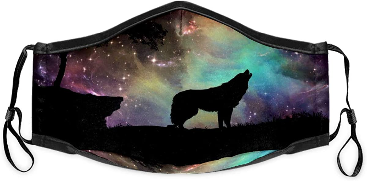 Face Mask Mouth Masks Bandana Galaxy Nebula Stars Wolf Unisex Adult Youth Kids Anti Dust Reusable Mouth Cover Breathable Adjustable Earloop with Filter