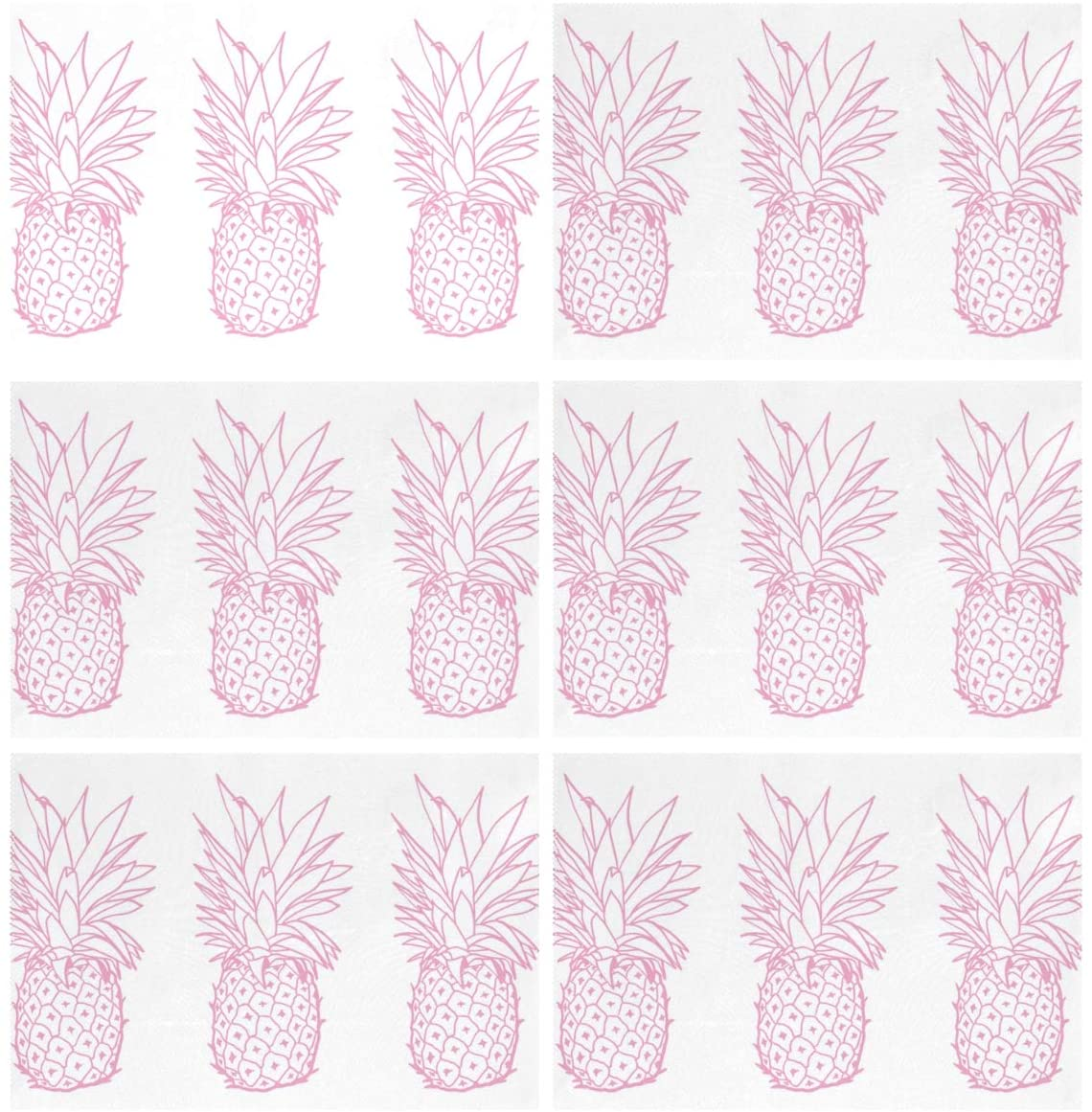 ALAZA Pink Pineapples Placemats Set of 6 for Dining Table Washable Polyester Placemat Non-Slip Heat Resistant Kitchen Table Mats Easy to Clean