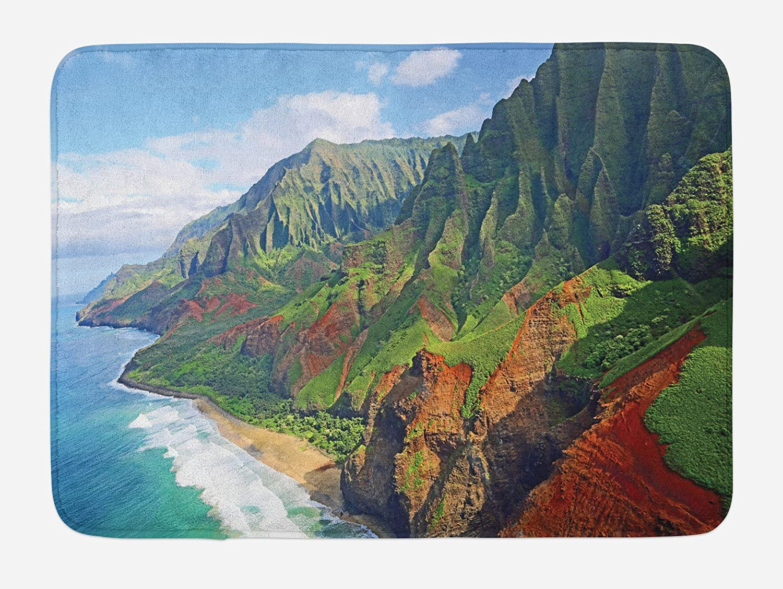 Ambesonne Hawaiian Bath Mat, Na Pali Coast Kauai Hawaii Seashore Greenery Adventurous Journey Landscape, Plush Bathroom Decor Mat with Non Slip Backing, 29.5 X 17.5, Green Redwood Blue