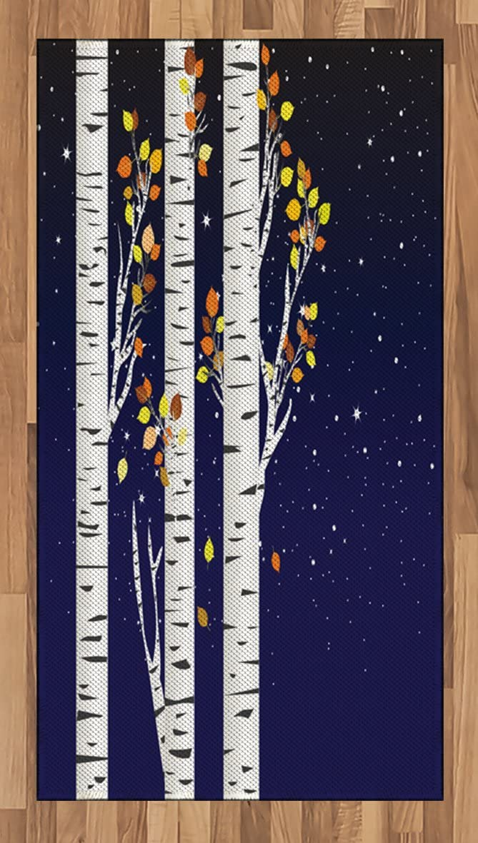 Ambesonne Autumn Area Rug, Birch Trees with Colorful Fall Season Foliage Leaves on a Starry Night Sky Backdrop, Flat Woven Accent Rug for Living Room Bedroom Dining Room, 2.6' x 5', Multicolor