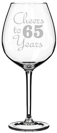 Wine Glass Goblet Cheers To 65 Years Anniversary 65th Birthday (20oz Jumbo)
